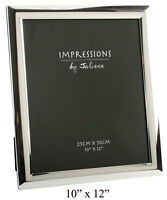 """Silverplated 10x25cm Silver Mirrored Curved Edge Photo Picture Frame 10""""x12"""""""