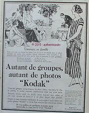 PUBLICITE KODAK CAMERA APPAREIL PHOTO VACANCES EN FAMILLE DE 1926 FRENCH AD PUB