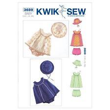 Kwik Sew patrón de costura Bebé Vestidos Bloomers y Sombrero Talla S-XXL K3689