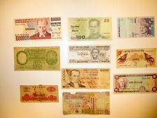 Vintage Set of 10 World Banknotes Mixed Paper Money Circulated Currency Lots