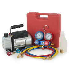 R134a HVAC Manifold Air Condition A/C & 3CFM 1/3HP Vacuum Pump Single Stage KIT