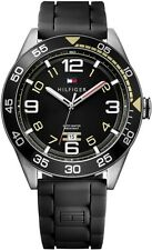 New Tommy Hilfiger Black Rubber Band Date Men Dress Watch 47mm 1790978 $115