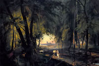 Oil painting karl blechen - Forest path near Spandau nice landscape in forest