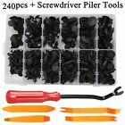 240 Pcs Car Plastic Rivets Fastener Fender Bumper Push Pin Clips Remover Tool