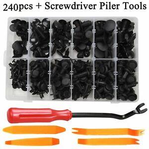 240 PCS Car Plastic Rivets Fastener Fender Bumper Push Pin Clips & Remover Tool