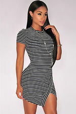 Abito a cono aperto nudo spacco scollo orlo Mini Striped Un-Even Hem Club Dress