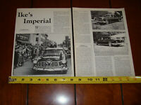 EISENHOWER 1955 CHRYSLER CROWN IMPERIAL  ORIGINAL 1987 ARTICLE
