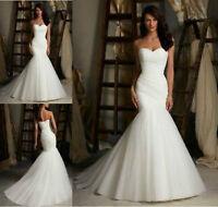 New White/Ivory Mermaid Wedding Dress Bridal Gown UK Stock Size: 6-8-10-12-14-16