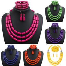 3Pcs Women Handmade Beaded Multi-layer Necklace Bracelet Earrings Set Ornament