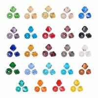10strands Bicone Shape 4mm Transparent Glass Beads AB Color Faceted Craft Beads
