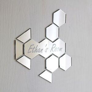 Honey Comb Bee Mirror Set Personalised Door Name Plaque Boy Girls Bed Room Sign