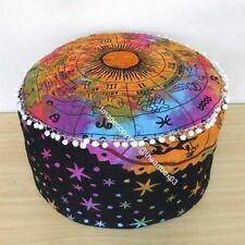 "Home Decor 22""Inch Pouf Zodiac Sunsign Multi Ottoman Round Cover Handmade Cotton"