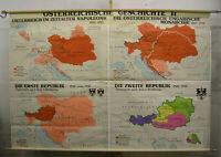 Schulwandkarte Wandkarte Österreichische Geschichte Karte 236x160 vintage ~1960