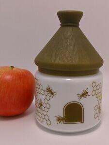 "Vintage  milk glass honey pot with plastic lid ""BEEHIVE"" shape printed BEES"
