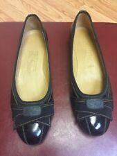 NWOB FERRAGAMO SALVATORE Womens Black Patent Leather Ballet Flats Sz 6.5 B