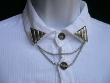 New Women Pins Silver Triangle Shirt Collar Blouse Tip Chains Rivet Western Punk