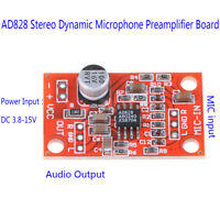 AD828 stereo dynamic microphone preamplifier board mic preamp DC 3.7V-15V 12DT