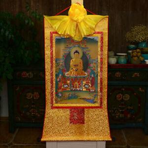 Tibet Tibetan Buddha Print Silk Gild Thangka Thanka Buddhism Shakyamuni Buddha 3
