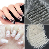 30 Sheets 3D Lace Nail Art Stickers Black White DIY Tips Decals Manicure Tools L