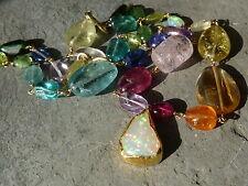 Collier or 18 et 24 ct,opale,rubis,tanzanite,aigue-marine,tourmaline,améthyste..