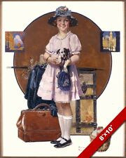 NORMAN ROCKWELL GIRL'S SUMMER VACATION TRIP ARTOIL PAINTING PRINT ON CANVAS