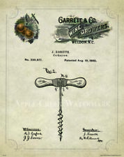Wine Corkscrew Patent Poster Art Print 11x14 Vintage Rack Glasses Barrel PAT410