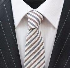 Tie CRAVATTA SLIM Marrone Denim blu a righe bianco sporco cotone di alta qualità T693