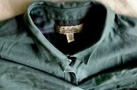 Cabela's Mens Shirt Size L Flannel Lined Medium Green Plaid Interior Long Sleeve