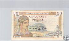 FRANCE 50 FRANCS CERES 31.3.1938 ALPHABET J.8061 !!!!
