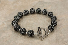 Jasper Bracelet Hand Carved Chocolate Brown Beads .925 Sterling Silver 7.75 Inch