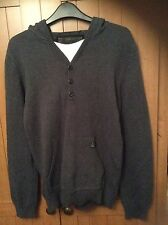 Men's Knitted Hooded Sweater with faux White T Shirt Size S