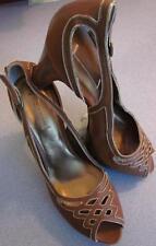 BOTTEGA VENETA Brown Cutout Leather Wood Platform Sandal Sz 41/11-NIB-Rt $920