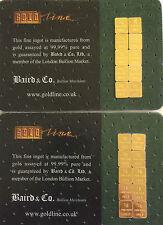 1 gram bullion bar baird & co 24 ct or .999 1 gm bars