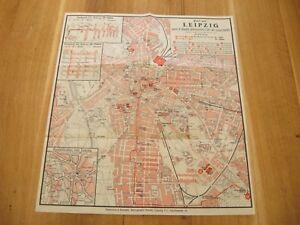 alte Landkarte Plan von Leipzig zum 2.Sächs Sängerfest 28-30 Juni 1935