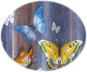 PAINTED CAFE NET CURTAIN-COLORED BUTTERFLY SOLD BY METERS