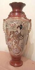 large rare antique hand made painted 1800s Meiji Japanese satsuma porcelain vase