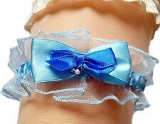 Strumpfband Braut blau Schleifen Perlchen Satin und Organza Hochzeit EU