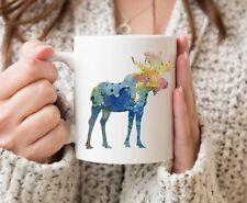 Moose Coffee Mug - Moose Lover Gift - Watercolor Moose Coffee Mug