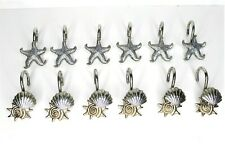 Set of 12 - Metal Seashells Starfish Shower Curtain Hooks Beach Home Bathroom