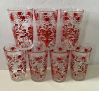 7 VNTG Red Paisley Pattern Clear Drinking Juice Glasses Retro, Patriotic 10 Oz