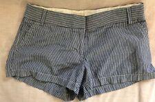 J.Crew Blue White Stripe Pure Cotton Hot Pants Short Shorts sz 10 wow