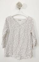 New Viola Borghi 100% Linen Top Blouse Floral White Size M 3/4 Sleeve Summer