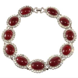 DeLillo Necklace Dark Red Cabochon Collar with Rhinestones Wm de Lillo