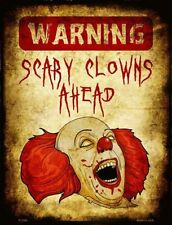 Warning Scary Clowns Novelty Metal Decorative Parking Sign