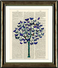 Dictionary Book page Art Print - Butterfly Tree Illustration Wall Art