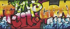 Bordüre Kids Club 237900 Rasch rot gelb blau schwarz Grafitti Kinder cool