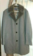 Vintage Pendleton Wool Coat Mens Size 44 Faux Fur Collar Grey