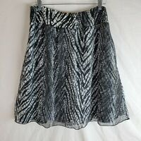 Chico's Pull-On Skirt SZ 2 Womens Large 12 Black White Lined Knee Length Stretch