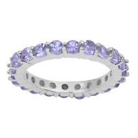 Natural Tanzanite Eternity Band Stacking Stackable Wedding Gift Ring 925 Silver
