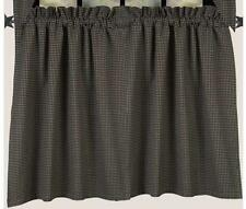 Primitive Country Black Newbury Gingham Lined Tier Curtains 72WX36L Cotton